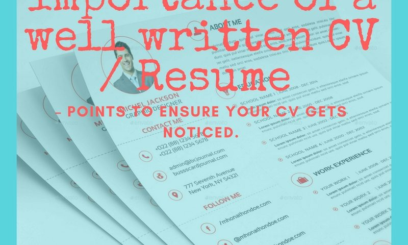 knowing the importance of a well written cv resume points to